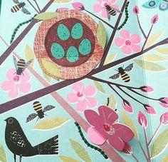 jane ormes, book illustration, design, nature, bird, nest, eggs, texture, spring