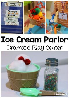 Ice Cream Parlor dramatic play center by Play to Learn Preschool Dramatic Play Themes, Dramatic Play Area, Dramatic Play Centers, Play Ice Cream, Ice Cream Theme, Ice Cream Parlor, Prop Box, Play Based Learning, Play Centre