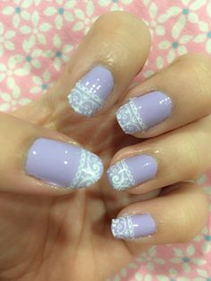 Lace rub on sticker n lilac nailart