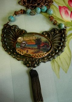 Sweet May  Mixed Media Collage Assemblage Necklace  by Vintagearts, $125.00
