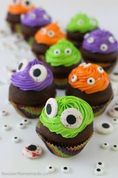 Easy Monster Eye Cupcakes  October is coming! And with it cute costumes scary monsters and brave super heroes! Make these Easy Monster Eye Cupcakes for Halloween parties after school snacks or just a fun festive dessert!  There is nothing better than a dessert that is festive adorable and easy! These monster eye cupcakes need only neon food coloring and candy monster eyes to look so good! And I love that that are cute little monsters not scary ones.  I used Pillsbury Purely Simple chocolate…