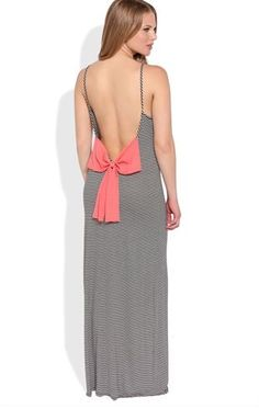 Deb Shops Striped #Maxi #Dress with Chiffon Bow Back $30.00