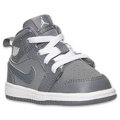 Boys' Toddler Air Jordan Retro 1 Mid Basketball Shoes  FinishLine.com   Cool Grey/White/Cool Grey