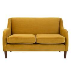 Helena Plush Velvet Corner Sofa: Love this compact turmeric colour upholstered sofa with a stylish silhouette Velvet Corner Sofa, Cocktail Chair, Upholstered Sofa, Colorful Furniture, Furniture Collection, Living Room Decor, Dining Room, Love Seat, Armchair