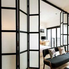 Folding doors as room divider