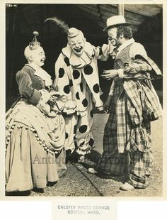 Ringling Brothers circus woman clown with friends antique art photo