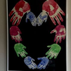handprint heart on a canvas