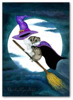 Lil Hamster Halloween Broom Ride To the Moon - ArT Prints by BiHrLe cc145