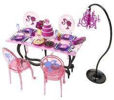 Barbie Glam Dining Set - Pink - - Product Description: The Barbie Dream Dining Set is a premium house furnishing kids will love! Barbie doll(sold separately) can entertain in her dining room with 4 ch Barbie Doll Set, Barbie Doll House, Barbie Dream House, Pink Barbie, Barbie Playsets, Barbie Kitchen, Monster High Birthday, Barbie Doll Accessories, Barbie Fashionista