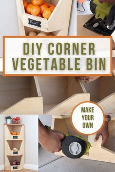 Easy DIY corner storage bin for potatoes and onions and fruit. Great added Kitchen storage. Easy project can be made using scrap wood. #anikasdiylife Scrap Wood Projects, Woodworking Projects That Sell, Easy Projects, Project Ideas, Vegetable Storage Bin, Vegetable Bin, Corner Storage, Kitchen Storage, Diy Vertical Storage
