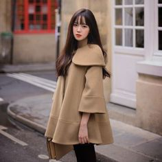 HIGH QUALITY 2015 winter pregnant women large turn-down peter pan collar cloak wool coats maternity fashion woolen outerwear Maternity Coat, Maternity Fashion, High Fashion, Winter Fashion, Coats For Women, Clothes For Women, Pregnancy Outfits, Pregnancy Style, Tweed Coat