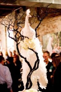 Ivory peacock wedding centerpiece, cake decor, I just died and went to heaven must have this