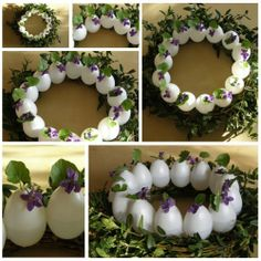 Easter wreath with with eggs and forest violets