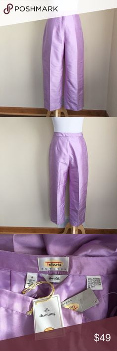"🔵SALE NWT Talbots Petites silk crop pants sz 8P 🔵SALE was $35 now $25.  NWT Talbots Petites lavender silk shantung cropped pants, size 8P.  Classic fit, zip hook and button closure, fully lined, no pockets.  Photo 4 shows silk shantung texture lines.  Condition: NWT (new with tags).  Material:  shell 100% silk, lining 100% polyester.  Measurements (approximate, taken laying flat): length 33.5"", inseam 23.5@, rise 11"", flat waist 14.5"", flat hip 19"". Talbots Pants Ankle & Cropped"