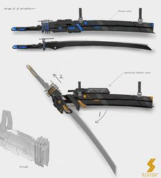 Techno Katana for a Cyber-samurai Ninja Weapons, Anime Weapons, Sci Fi Weapons, Weapon Concept Art, Weapons Guns, Samurai Weapons, Zombie Weapons, Fantasy Sword, Fantasy Weapons