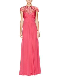 Embellished Jeweled Silk Gown
