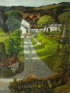 "© John Elwyn ~ Carmarthenshire Green © the artist's estate. Photo credit: Newport Museum and Art Gallery "" Windfalls "" Landscape Art, Landscape Paintings, Art Uk, Your Paintings, Green Paintings, Wonders Of The World, Amazing Art, Art Gallery, Illustration Art"