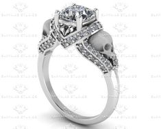 'Amora' 1.65ct White Diamond Sterling Silver Skull Engagement Ring