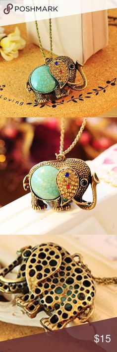 Rhinestone Elephant Sweater Chain Bronze tone with rhinestones and faux turquoise...new Jewelry Necklaces