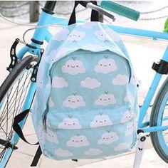 Cartoon student cloud printed backpack