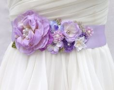 Bridal Sash-Wedding Sash In Lavender, Lilac & Ivory With ,Crystals and Pearls , Flower Sash, Wedding Dress Sash, Bridal Belt, Rustic