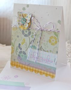 Just a few of my favorite things: sweet colors, butterflies, baker's twine and yellow gingham