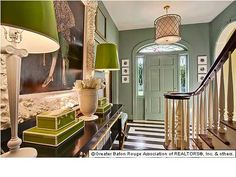 Great entryway - painted floors, pops of green Selling Real Estate, Real Estate Companies, Entry Paint Colors, Painted Floors, Hallways, Home And Family, Condo, Entryway, Decor Ideas