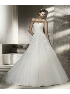 Tulle A-Line Strapless Sweetheart Neckline Gathered Bodice Wedding Dress