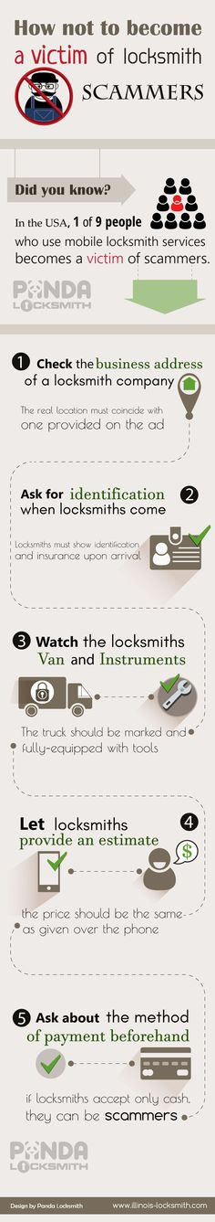 It's time to stop being a victim of locksmith scammers!  http://www.illinois-locksmith.com/locksmith-infographics/not-become-victim-locksmith-scammers-infographic/