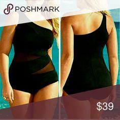 PLUS SIZE BLACK SWIMSUIT plus size mama size black swimsuit Swim One Pieces