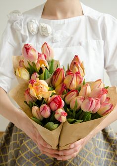 #Tulips in Yellow and Red and brown paper