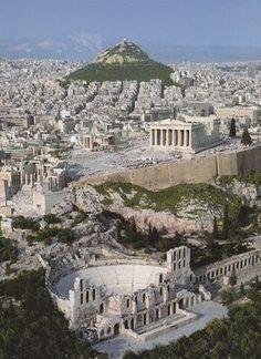 Pelo Mundo... Vista aérea da cidade de Atenas, Grécia.