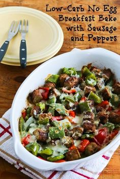 #LowCarb No Egg Breakfast Bake with Turkey Breakfast Sausage and Peppers; this is easy and delish for a low-carb breakfast option. [from KalynsKitchen.com] #DeliciouslyHealthyLowCarb