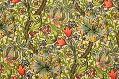 Golden Lily design by William Morris. Fine vintage Victorian art nouveau floral pattern for wallpaper and textiles. Custom Shower Curtains, Fabric Shower Curtains, Lily Wallpaper, Morris Wallpapers, Shower Rod, Red Pattern, William Morris, Designer Wallpaper, Fabric Decor