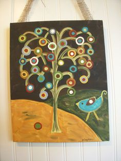 Primitive Folk Art Tree of LifeOriginal PaintingHand by theivylane, $36.00