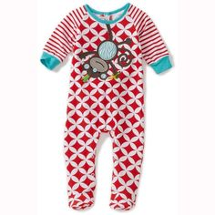 Cute and cozy Mud Pie sleeper for your little boy with a cute monkey applique.