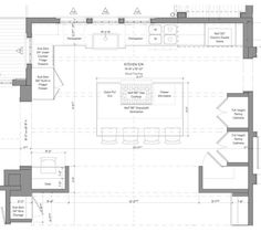 Kitchen Floor Plan. Kitchen Plan. As this floor plan shows, the simple but well-detailed layout makes everything accessible and encourages good traffic flow between spaces.  Kitchen Kitchen Floor Plan, Kitchen with island plan ideas #KitchenPlan #KitchenFloorplan #floorplan #Kitchen #Plan #Kitchenislandplan #KitchenPlanideas Nancy Serafini Interior Design