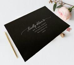 White Ink Address Printing -A7 Envelope - Guest & Return Address Digital Printed Calligraphy - Wedding Invitation Address Printing Peacock Wedding Invitations, Addressing Wedding Invitations, Wedding Envelopes, Addressing Envelopes, Envelope Address Printing, Paper Source, Wedding Calligraphy, White Ink