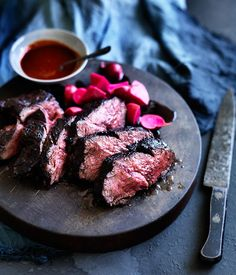 Butcher's steak with fermented radishes and Korean hot sauce   Gourmet Traveller