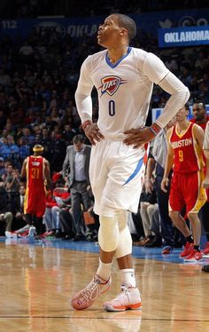 Oklahoma City's Russell Westbrook (0) reacts to a play during the NBA basketball game between the Oklahoma City Thunder and the Houston Rockets at the Chesapeake Energy Arena, Sunday, April 5, 2015, in Oklahoma City. Photo by Sarah Phipps, The Oklahoman