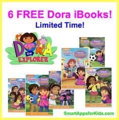 Good Free Apps of the Day - Six FREE Dora iBooks! http://www.smartappsforkids.com/2014/06/six-free-dora-ibooks.html