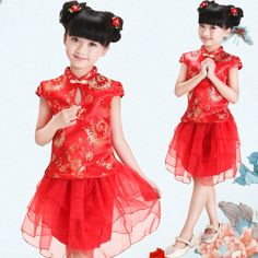 Fashion NEW Chinese style traditional cheongsam costume dress girls tang suit qipao dress girls princess party performance dress Chinese Dress For Kids, Vestido Cheongsam, Japanese Hairstyle Traditional, Little Girl Dresses, Girls Dresses, Baby Dress, Dress Up, Style Chinois, Red Suit