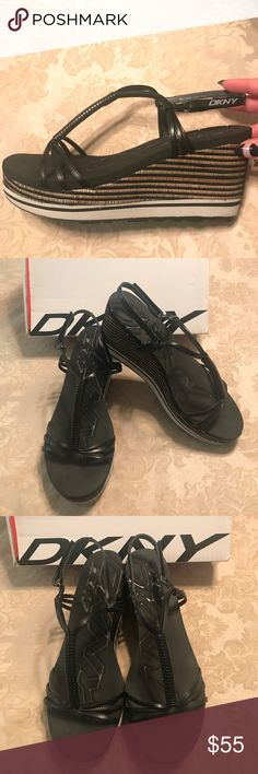 BRAND NEW DKNY Layden Wedge Shoes!!! BRAND NEW!!!!!! I didn't even wear these outside! These are soooooo .......cute! The soles on these shoes are like a foam so when u walk it's super super cozy!!!!! These are ready to go for summer!!! Dkny Shoes Wedges
