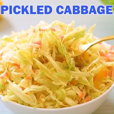 This light and healthy pickled cabbage recipe is mildly acidic and full of flavor. The cabbage will soften slightly, but retain the crunch that will add texture to any meal. There are so many ways to Pickled Cabbage, Cabbage Salad, Healthy Salad Recipes, Canning Recipes, Vegetable Recipes, Great Recipes, Fast Recipes, Food Videos, Clean Eating