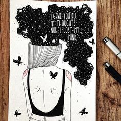 """inktober 4/31 ⭐️ """"i gave you all my thoughts, now i lost my mind"""" ⭐️ don't really now what to write today :-) can't or don't want to complain about this drawing, had a sunny melbourne day today and even if my morning was quite stressfull, i am happy today. :-) life is beautiful. no one ever said that its going to be easy! :) #inktober #inktober2017 @inktober #art #artsy #artist #artwork #artistsoninstagram #design #zeichnen #zeichnung #kunst #kunstliebe #künstler #makearteveryday #instaart…"""