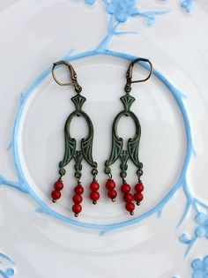 Hey, I found this really awesome Etsy listing at https://www.etsy.com/listing/188299600/patina-earrings-patina-and-red-earrings