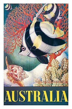 australia,great barrier reef,longspined,butterfly fish,heron island,volute,vintage world travel poster,eileen mayo,scuba,coral reef,tropical fish,snorkeling,australian,down under,marine park,whitsunday islands,marine life,vintage travel poster,retro,poster art,vintage advertising,vintage travel