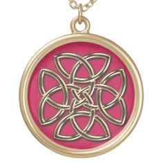 Red and Gold Metal Celtic Four-SIded Shield Knot Pendants  #Celtic