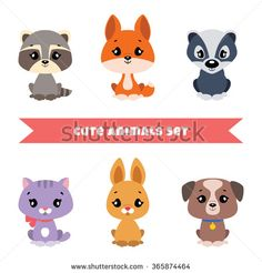 Set of cute little animals: raccoon, foxy, badger, kitten, bunny and puppy. Vector illustration - stock vector