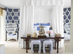 17 design ideas for using blue and white in your home.
